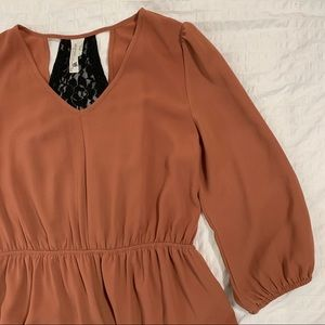 Rust colored dress with lace details
